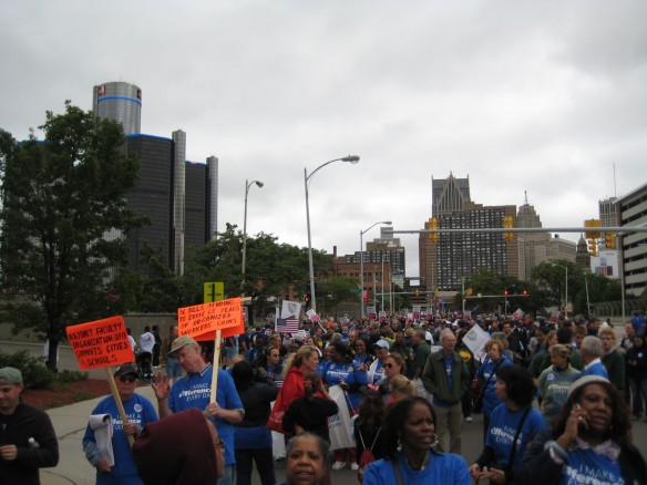 Michigan Education Association members and labor supporters in Labor Day Parade