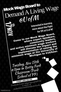 Flyer for Mock Wage Board